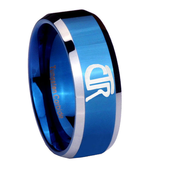 8mm CTR Beveled Edges Blue 2 Tone Tungsten Carbide Anniversary Ring