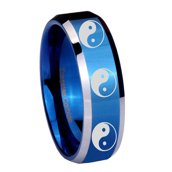 10mm Multiple Yin Yang Beveled Blue 2 Tone Tungsten Wedding Engagement Ring