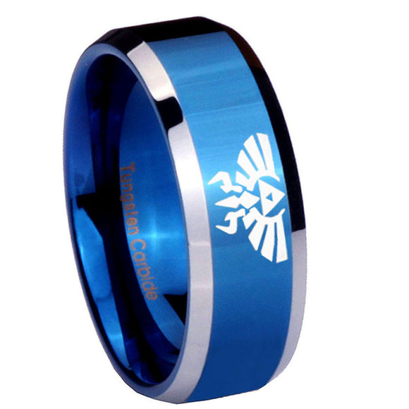 8mm Zelda Skyward Sword Beveled Blue 2 Tone Tungsten Mens Anniversary Ring