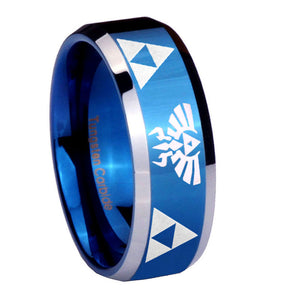 8mm Legend of Zelda Beveled Edges Blue 2 Tone Tungsten Wedding Engraving Ring