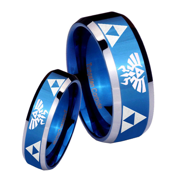 His Hers Legend of Zelda Beveled Edges Blue 2 Tone Tungsten Custom Mens Ring Set
