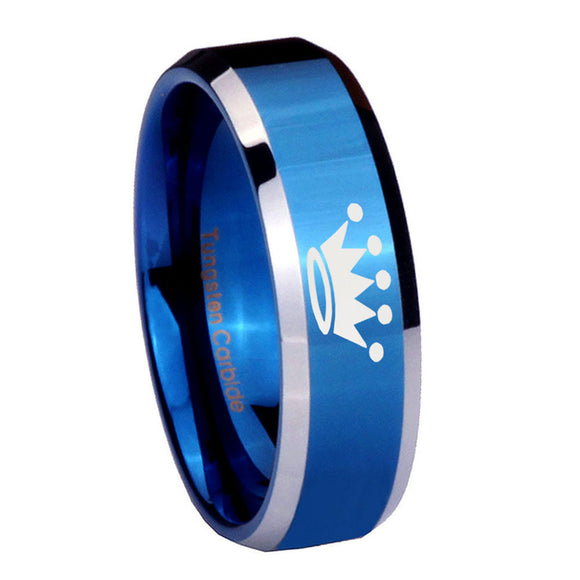 8mm Crown Beveled Edges Blue 2 Tone Tungsten Carbide Mens Bands Ring