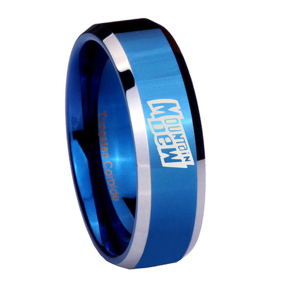 8mm Mountain Dew Beveled Edges Blue 2 Tone Tungsten Carbide Anniversary Ring