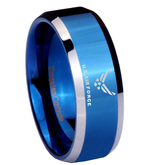 8MM Shiny Blue US Air Force Bevel Edges 2 Tone Tungsten Laser Engraved Ring