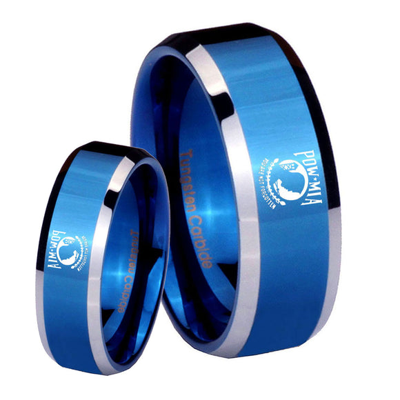 His Hers Military Pow Beveled Edges Blue 2 Tone Tungsten Men's Band Ring Set