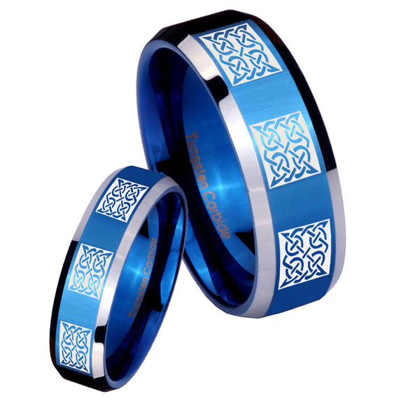 His Hers Multiple Celtic Beveled Edges Blue 2 Tone Tungsten Bands Ring Set