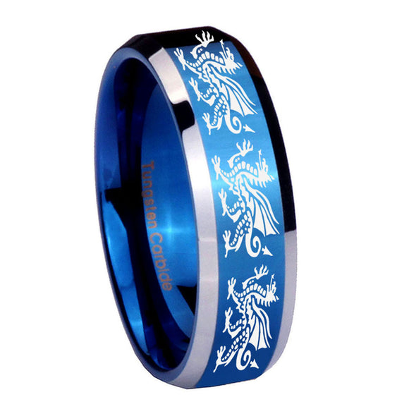 8mm Multiple Dragon Beveled Edges Blue 2 Tone Tungsten Carbide Men's Bands Ring