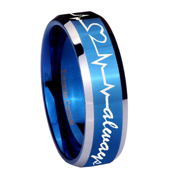 8mm Heart Beat forever Heart always Beveled Blue 2 Tone Tungsten Mens Bands Ring