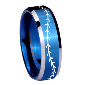 8mm Baseball Stitch Beveled Edges Blue 2 Tone Tungsten Carbide Anniversary Ring