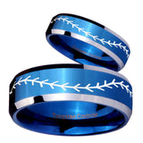 His Hers Baseball Stitch Beveled Blue 2 Tone Tungsten Custom Ring for Men Set