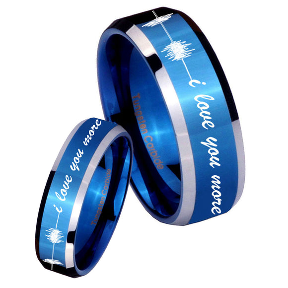 His Hers Sound Wave, I love you more Beveled Blue 2 Tone Tungsten Mens Ring Set