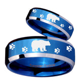His Hers Bear and Paw Beveled Edges Blue 2 Tone Tungsten Rings for Men Set