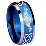 8mm Irish Claddagh Beveled Edges Blue 2 Tone Tungsten Carbide Men's Wedding Ring