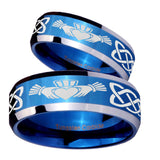 His Hers Irish Claddagh Beveled Blue 2 Tone Tungsten Mens Engagement Band Set