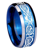 8mm Celtic Knot Dragon Beveled Edges Blue 2 Tone Tungsten Men's Engagement Band