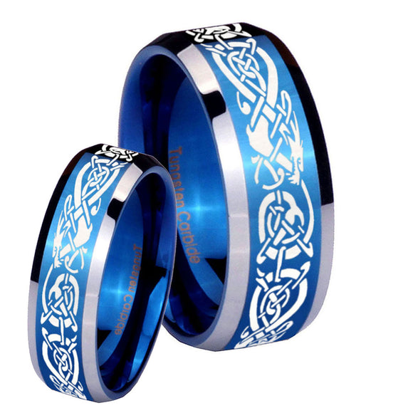 His Hers Celtic Knot Dragon Beveled Blue 2 Tone Tungsten Mens Ring Set