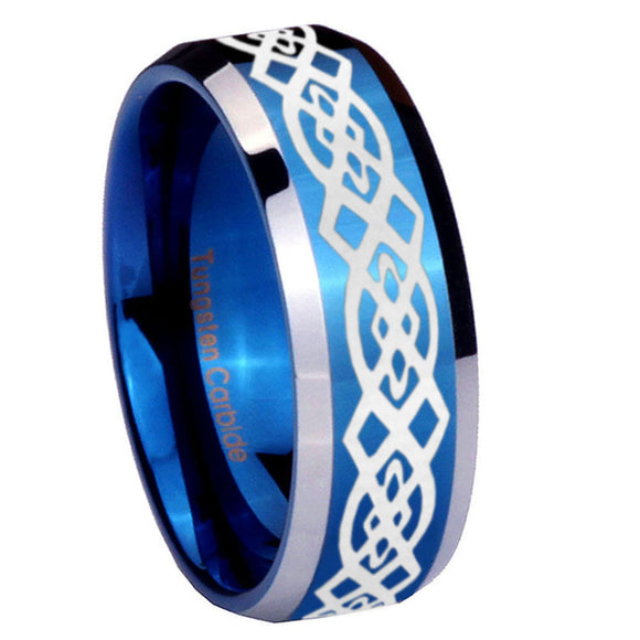 8mm Celtic Knot Beveled Edges Blue 2 Tone Tungsten Men's Engagement Ring