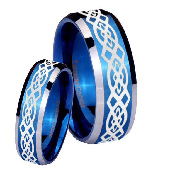 His Hers Celtic Knot Beveled Edges Blue 2 Tone Tungsten Mens Promise Ring Set