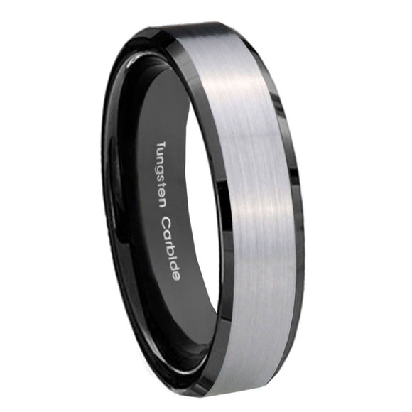 5MM Black Beveled Edges Silver Middle Tungsten Carbide Women Ring