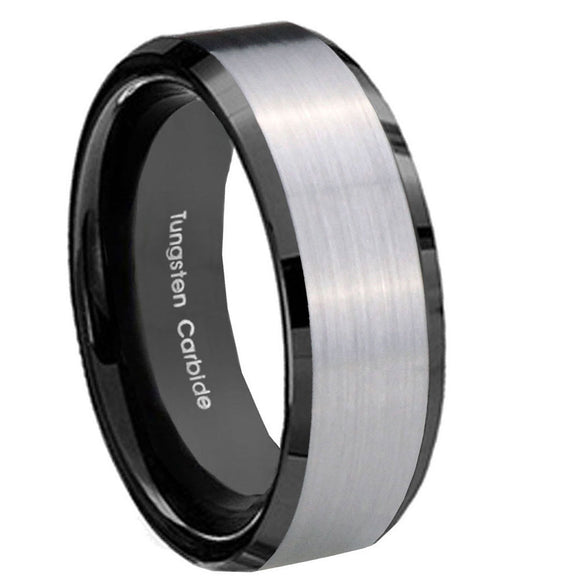 8MM Black Beveled Edges Silver Middle Tungsten Carbide Men Bands Ring