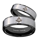 His Hers Freemason Masonic Beveled Brush Black 2 Tone Tungsten Ring Set