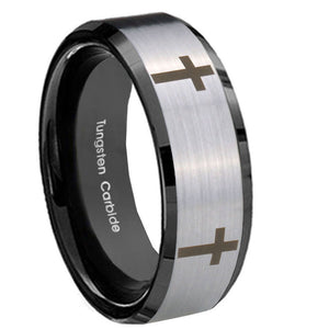 8mm Crosses Beveled Edges Brush Black 2 Tone Tungsten Carbide Bands Ring