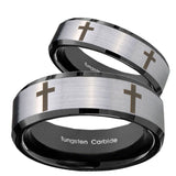 His Hers Crosses Beveled Edges Brush Black 2 Tone Tungsten Mens Ring Set