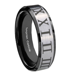 8mm Roman Numeral Beveled Edges Brush Black 2 Tone Tungsten Mens Bands Ring