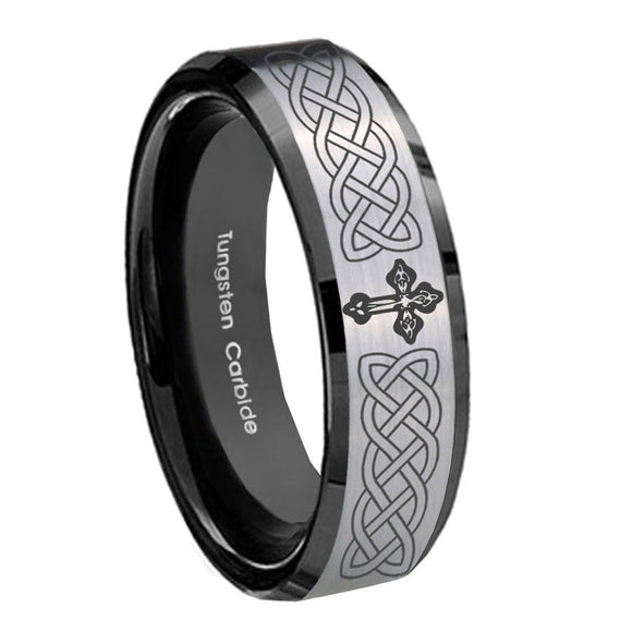 10mm Celtic Cross Beveled Brushed Silver Black Tungsten Men's Wedding Band