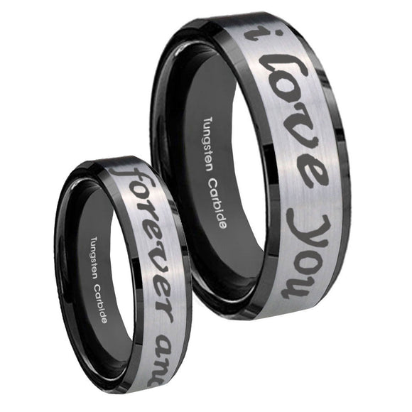 10mm I Love You Forever and ever Beveled Brushed Silver Black Tungsten Mens Ring