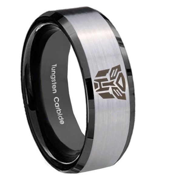 8mm Transformers Autobot Beveled Brush Black 2 Tone Tungsten Mens Bands Ring