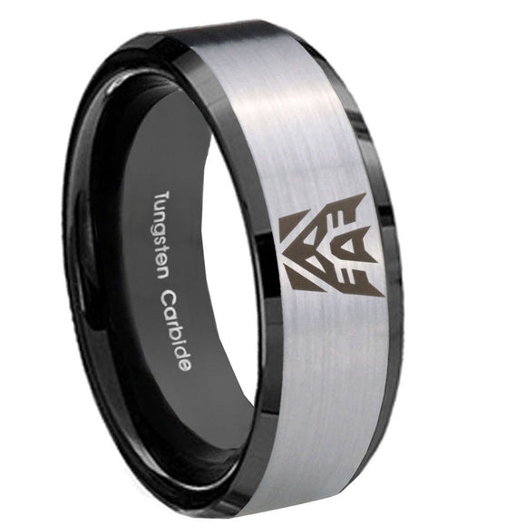 8mm Decepticon Transformers Beveled Edges Brush Black 2 Tone Tungsten Mens Ring