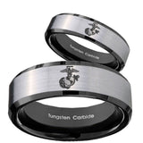 His Hers Marine Beveled Brush Black 2 Tone Tungsten Men's Engagement Band Set