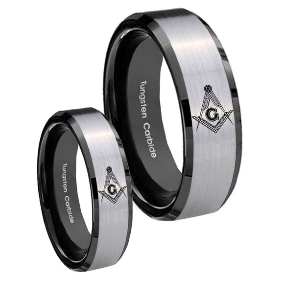 His Hers Master Mason Masonic Beveled Brush Black 2 Tone Tungsten Rings Set