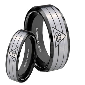 His Hers Masonic 32 Duo Line Freemason Beveled Edges Brush Black 2 Tone Tungsten Mens Ring Set