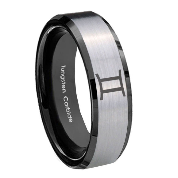 10mm Gemini Zodiac Beveled Edges Brushed Silver Black Tungsten Rings for Men
