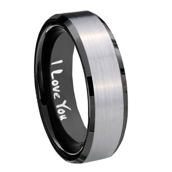 10mm I Love You Beveled Edges Brushed Silver Black Tungsten Wedding Band Ring