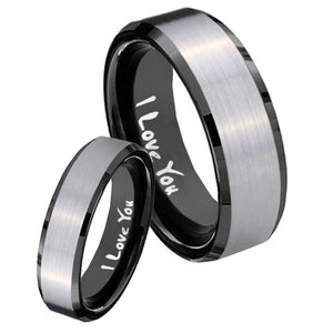 His Hers I Love You Beveled Brush Black 2 Tone Tungsten Men's Ring Set