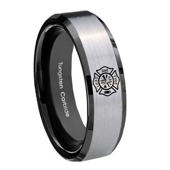 10mm Fire Department Beveled Brushed Silver Black Tungsten Anniversary Ring