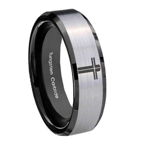 8mm Flat Christian Cross Beveled Brush Black 2 Tone Tungsten Men's Promise Rings
