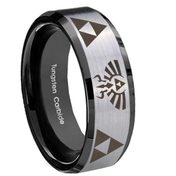 8mm Legend of Zelda Beveled Edges Brush Black 2 Tone Tungsten Men's Ring