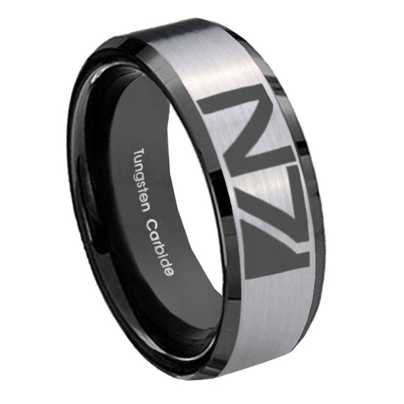 8mm N7 Design Beveled Brush Black 2 Tone Tungsten Wedding Engraving Ring