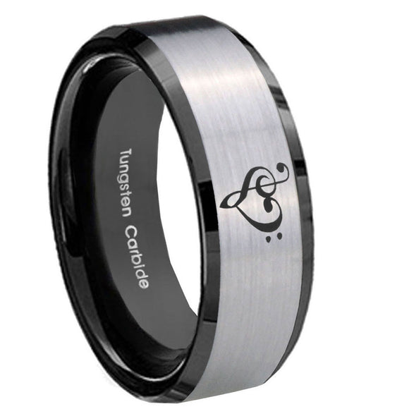 8mm Music & Heart Beveled Edges Brush Black 2 Tone Tungsten Men's Promise Rings