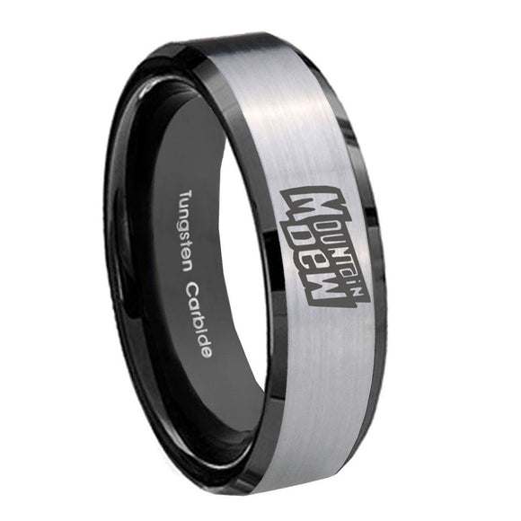 8mm Mountain Dew Beveled Edges Brush Black 2 Tone Tungsten Engraved Ring