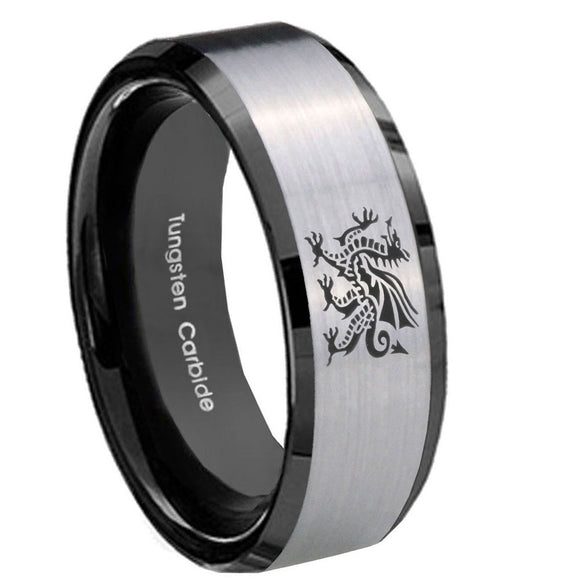 10mm Dragon Beveled Edges Brushed Silver Black Tungsten Carbide Men's Band Ring