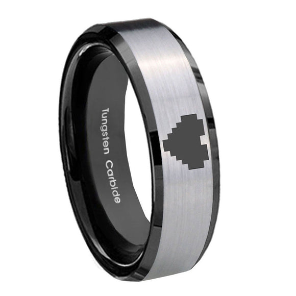 8MM Silver Black Bevel Edges Zelda Heart Tungsten 2 Tone Laser Engraved Ring