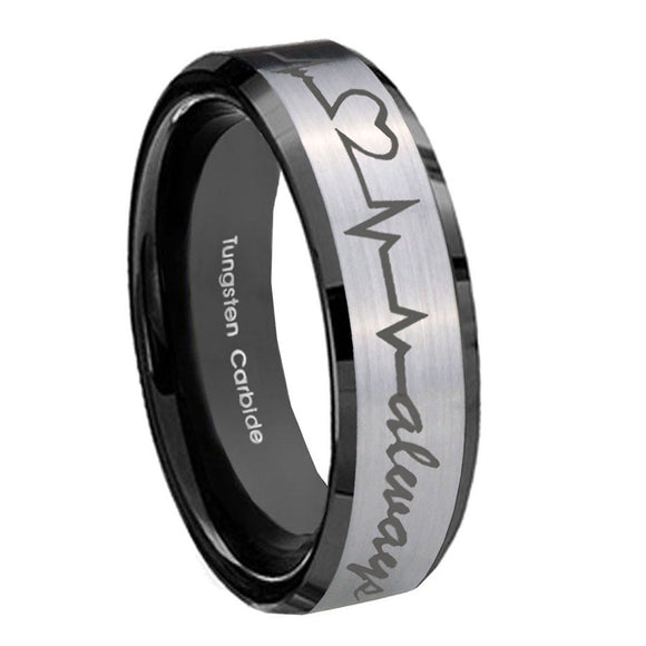 10mm Heart Beat forever Heart always Beveled Brushed Silver Tungsten Mens Ring
