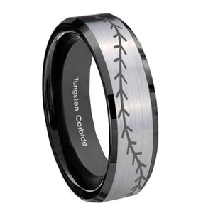 8mm Baseball Stitch Beveled Brush Black 2 Tone Tungsten Custom Ring for Men