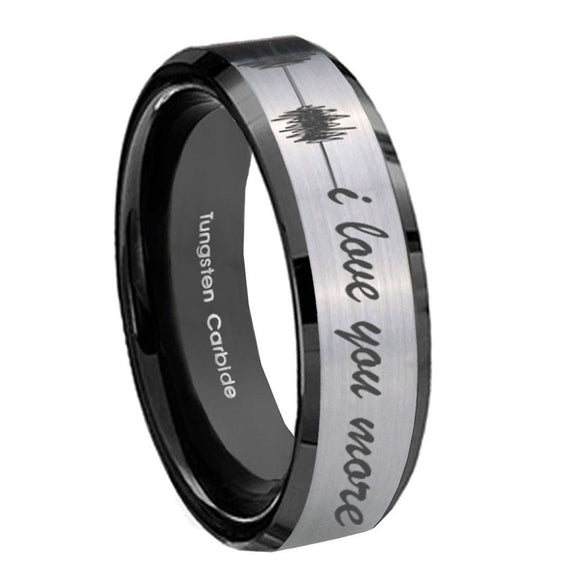 10mm Sound Wave I love you more Beveled Brushed Silver Black Tungsten Bands Ring