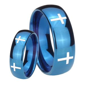 Bride and Groom Crosses Dome Blue Tungsten Carbide Custom Mens Ring Set